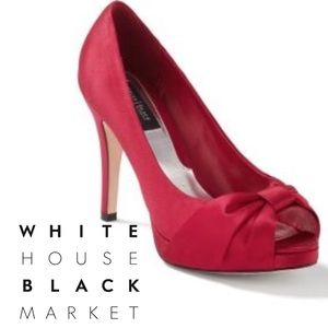 Beautiful WHBM red satin evening shoes, 6.5